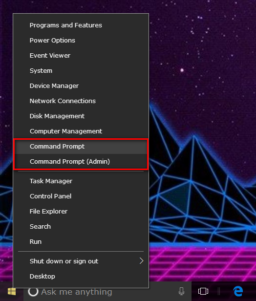 How to swap Command Prompt for PowerShell on Win+X menu in